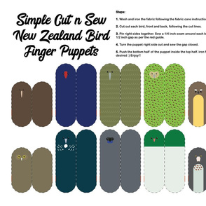 New Zealand Bird Finger Puppets