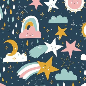 Shooting stars earthy - navy pink