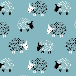 Scandinavian sweet sheep and goat illustration for kids gender neutral blue winter