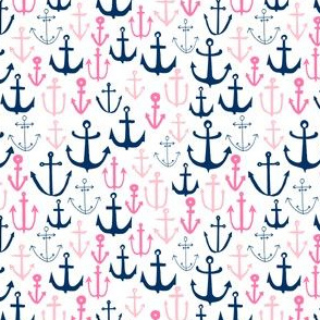 SMALL - anchor fabric // nautical ocean fabric nursery baby design - pink