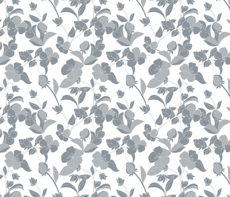 Apple Blossoms in Gray fabric by kendrashedenhelm on Spoonflower - custom fabric