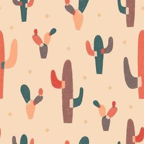 Modern Colorblock Cactus Peach