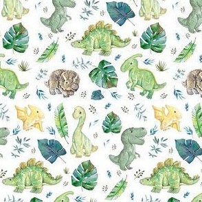 "4"" Green & Blue Baby Dinosaurs / White - Version 2"