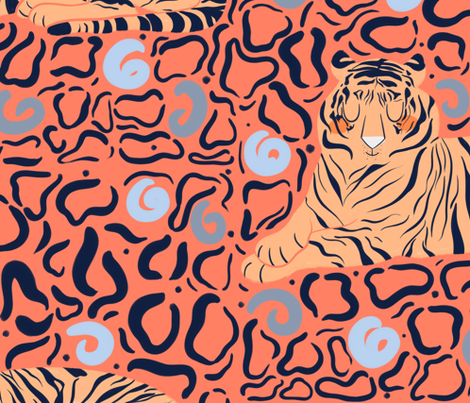 Large Scale Tigers fabric by how-store on Spoonflower - custom fabric