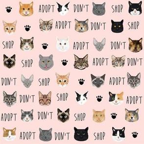 adopt don't shop cat fabric - rescue cat fabric , cat adoption fabric, cats - pink