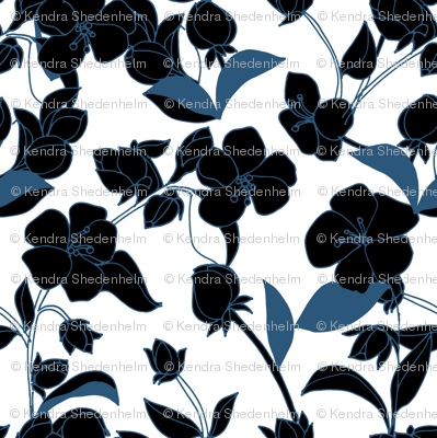 Blossoms in Deep Blues on White