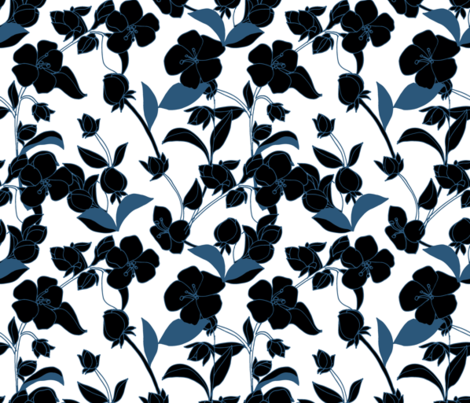 Blossoms in Deep Blues on White fabric by kendrashedenhelm on Spoonflower - custom fabric
