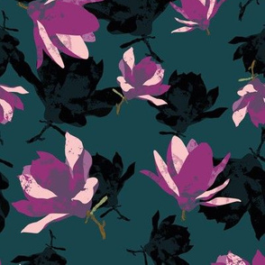 Moody Magnolia Teal Background