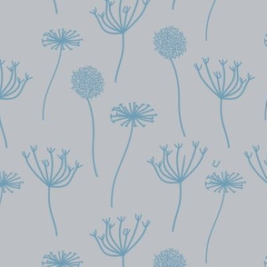Abstract Floral in Blue on Beige