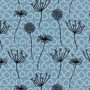 Abstract Floral Seafoam Blue
