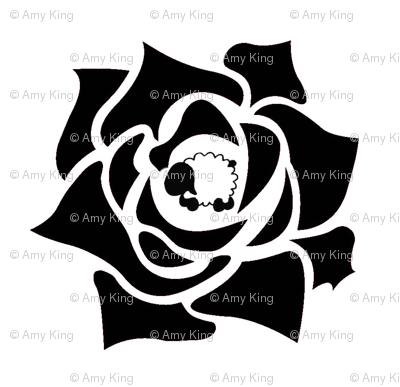 Rose Sheep - Black and White