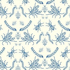 Insect Damask in Blue and Cream