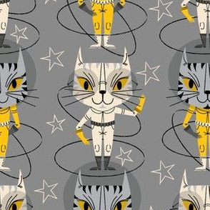 Space Kittens (Smaller scale) ~ Grey, yellow, and cream