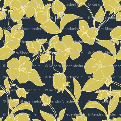 Hand Drawn Blossoms in Yellow