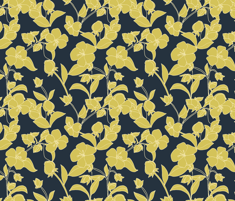 Hand Drawn Blossoms in Yellow fabric by kendrashedenhelm on Spoonflower - custom fabric