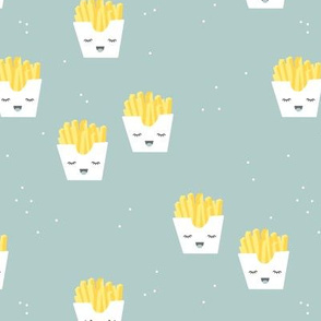 Cute kawaii fries fun japanese food design kids mint boys