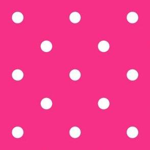 Polka Dotties // White on Hot Pink