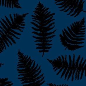 Botanical summer garden green fern tropical plant navy blue black winter