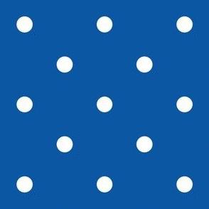Polka Dotties // White on Royal Blue