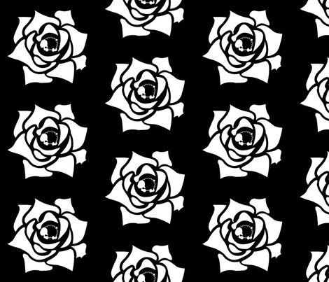 Rose Sheep - Black with white fabric by spunky_eclectic on Spoonflower - custom fabric