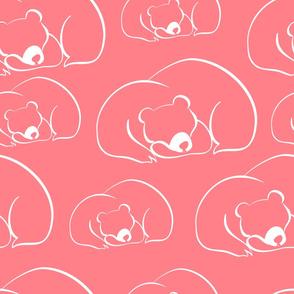 sleepy bears - pink outline