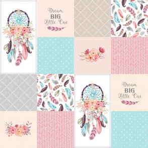 Dream Catcher Blanket Panel – Feathers & Flowers Cheater Quilt, Dream Big Little One, Aqua Gray Pink, Design B