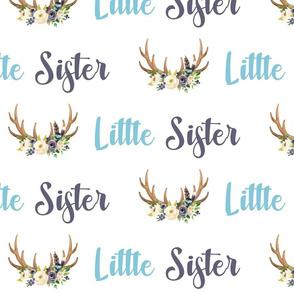 Ivory Blush Floral Little Sister Antlers
