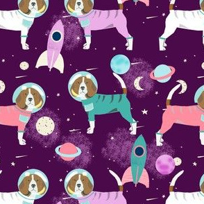 beagles in space fabric - space dog fabric, space astronaut fabric, astronaut fabric, dog fabric, beagle fabric -  purple