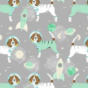 beagles in space fabric - space dog fabric, space astronaut fabric, astronaut fabric, dog fabric, beagle fabric -  grey