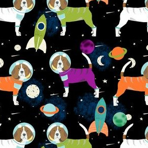 beagles in space fabric - space dog fabric, space astronaut fabric, astronaut fabric, dog fabric, beagle fabric - black