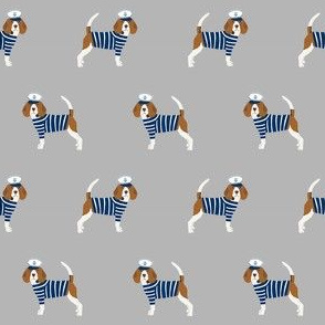 beagle nautical fabric - sailor dog fabric, navy and white stripes fabric, navy and white sailor dog - grey