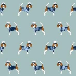 beagle nautical fabric - sailor dog fabric, navy and white stripes fabric, navy and white sailor dog - blue