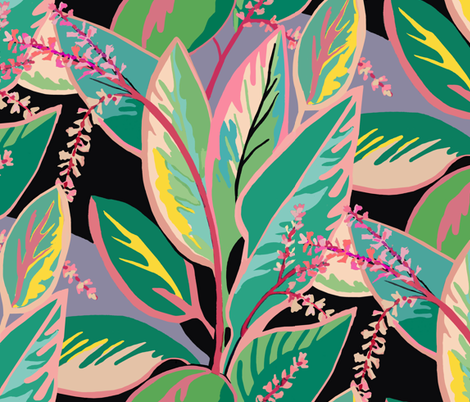 Tropical T-leaf bloom fabric by maliuana on Spoonflower - custom fabric