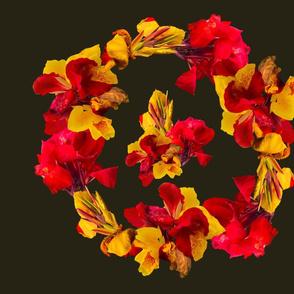 Tropical Bouquet Madallion Round-Dk.Green