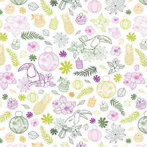 Vector white tropical birthday party pattern