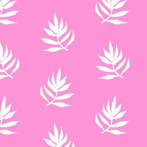 White Palm Leaves on Pink Background
