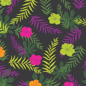 Dark grey tropical leaves and hibiscus