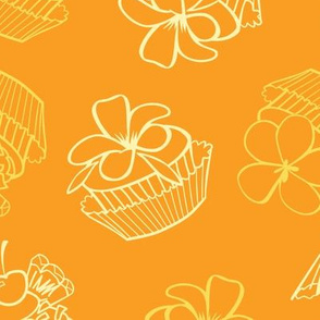 Yellow Tropical Cupcakes