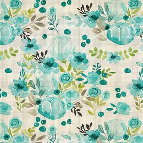Bella Blue Handpainted Watercolor Floral Vintage