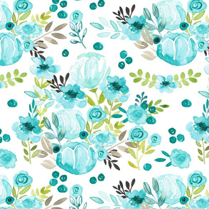 Bella Blue Hand-painted watercolor floral