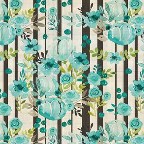 Bella Blue Watercolor Floral Vintage Stripe Print