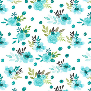 Bella Blue Watercolor Floral Polka Dot