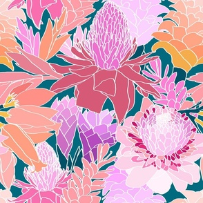 Ginger Flowers in Coral + Dark Teal Green