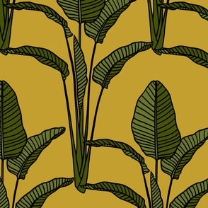 Banana leaves on mustard