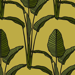 Banana leaves on citron green