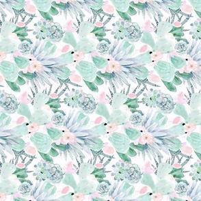 pastel cactus floral  White - M rotate