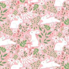 Spring Bunnies - small scale in pink