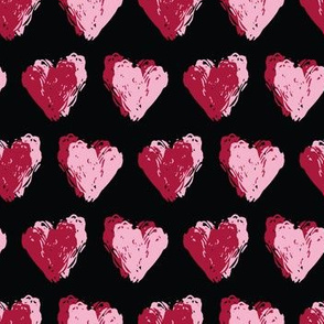 Red brush stroke textured love hearts