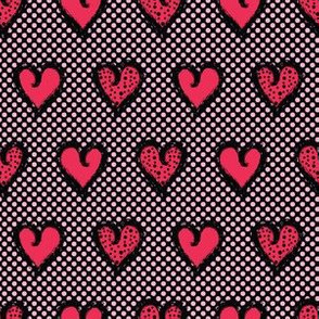 Red brush stroke dotty love hearts