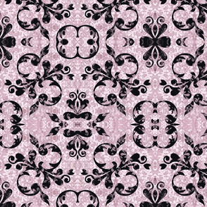 Lt Pink and Black Scroll